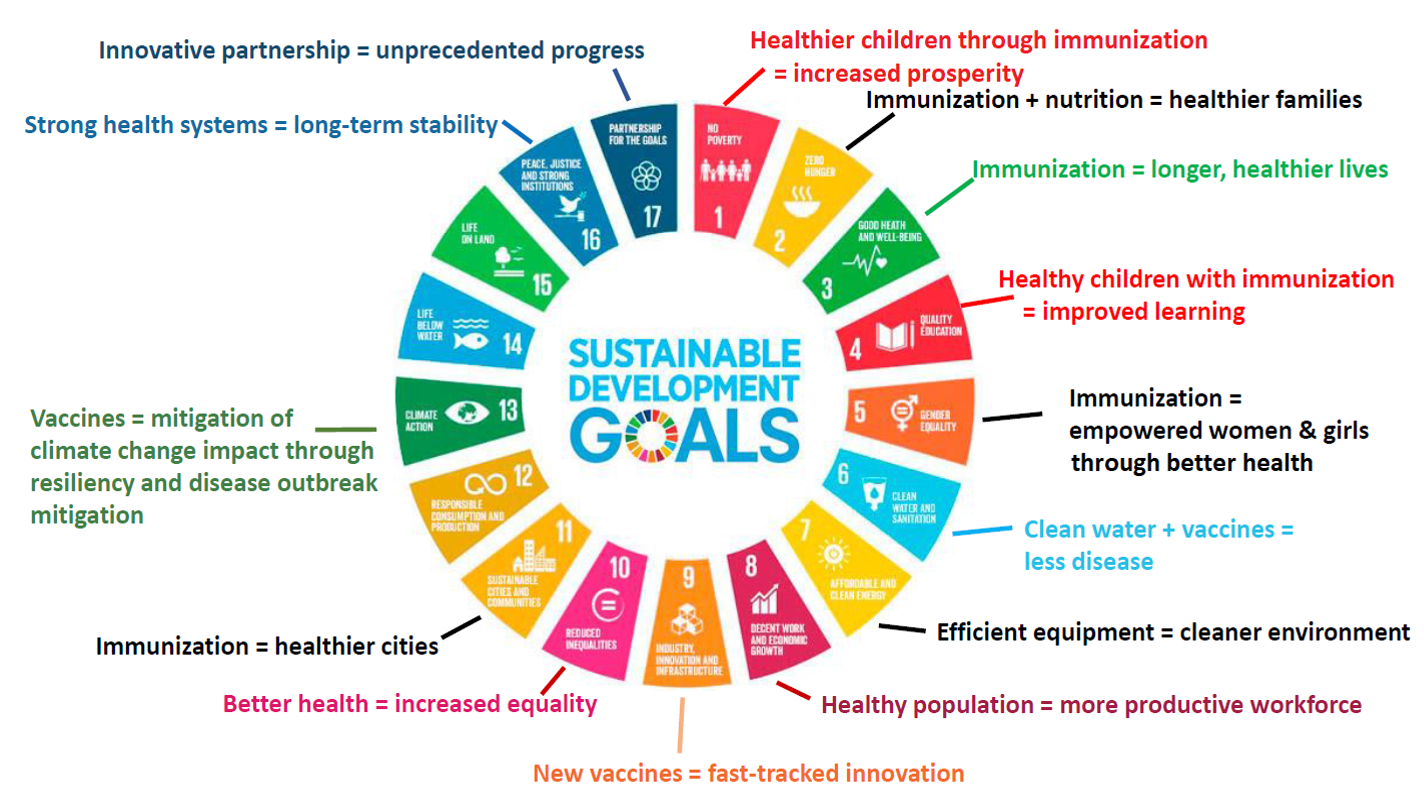 Figure 1: Immunization and the Sustainable Development Goals  ̶  adapted from GAVI, the Vaccine Alliance